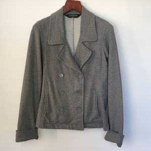 NORMA KAMALI Grey Jersey Knit Blazer Sweater L